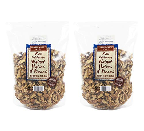 Trader Joes Raw California Walnut Halves & Pieces: 2 Pack (2 lbs)