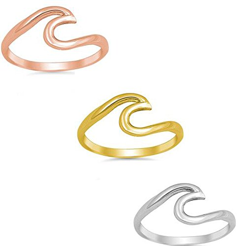 OMEGA DIAMOND CO Wave Ocean Beach Design Yellow,Rose 925 Sterling Silver Promise Ring (gold-plated-silver, ()