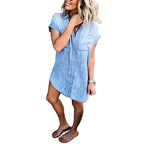 Uinolo Women's Loose Denim Blouse Button Down Lapel Short Sleeve T-Shirt Tops with Pockets Blue L (Dress is a Little Small)