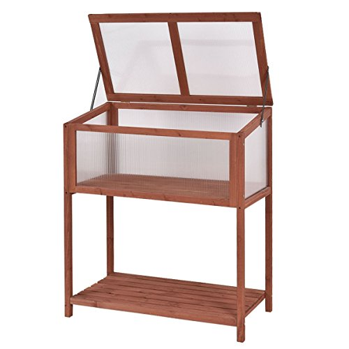 EnjoyShop Garden Portable Wooden Cold Frame Greenhouse with Bottom Shelf, Polycarbonate Glazing Board, Solid Wood Frame, Sturdy and Durable - Greenhouse Polycarbonate Glazing