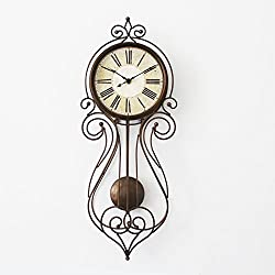 8-Inch Vintage Swing Wall Clock, Pendulum Clock (brown)