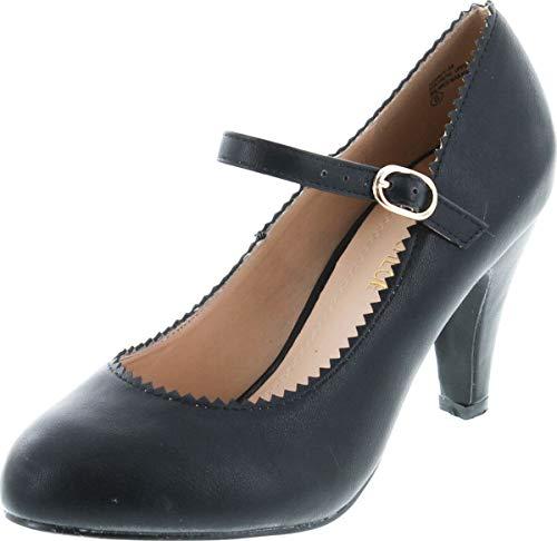 Chase & Chloe Women's Round Toe Mid Heel Mary Jane Style Dress Pumps Shoes,10 B(M) US,Black (B 10 Bombshell)