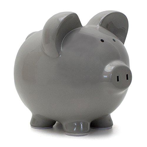 Child to Cherish Ceramic Piggy Bank, Gray