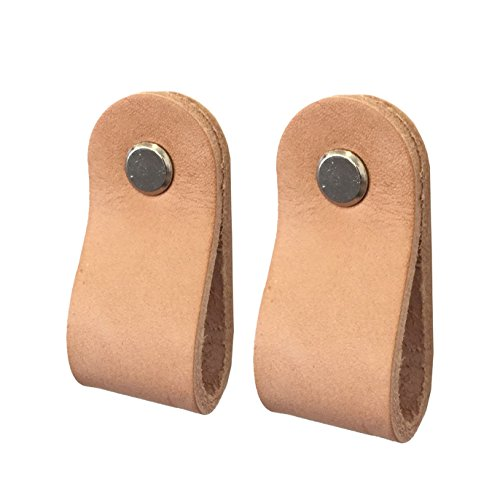 Cabinet Loop Pull Package of 2 Real Genuine Leather and Metal Hardware Drawer Dresser Handle Hardware. Fits Drawer 5/8th Inch Thick Minimalist Scandinavian Design. - Cabinet Walnut Pulls