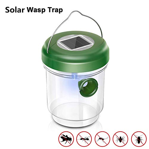 WeHome Solar Outdoor Wasp Trap Catcher Killer with Ultraviolet LED Light,Traps Wasps, Bees, Yellow Jackets, Hornets, Bugs, Fly and More