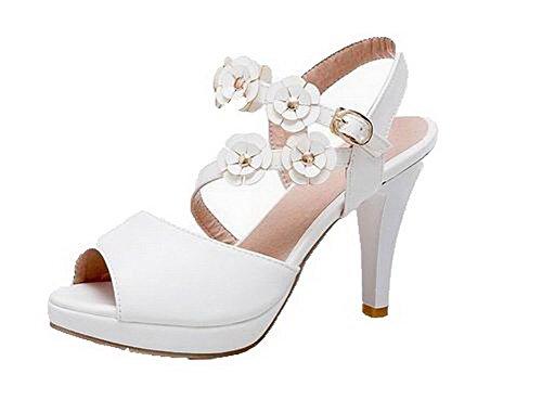 High Heels Pu Women Toe Open Sandals VogueZone009 White Buckle w1X4qanaxp
