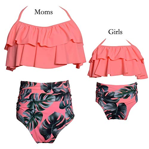 pjsonesie Girls Swimsuit Two Pieces Bikini Set Ruffle Falbala Swimwear Bathing Suits (Orange, Mom Small)