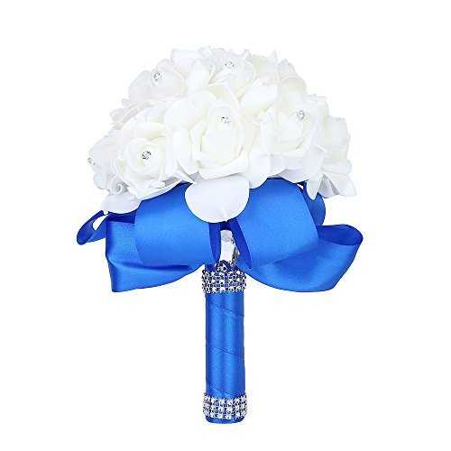 Wedding Bouquet, Febou Big Size Blue Bridesmaid Bouquet Bridal Bouquet with Crystals Soft Ribbons, Artificial Rose Flowers for Wedding, Party and Church (Blue, Big Size)