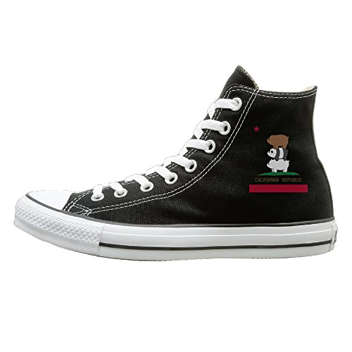 Hype Man Costume (Suancai Men & Women We Bare Bears-California Flag High Top Sneakers Canvas Shoes Design Sport Shoes Vintage 41 Black)