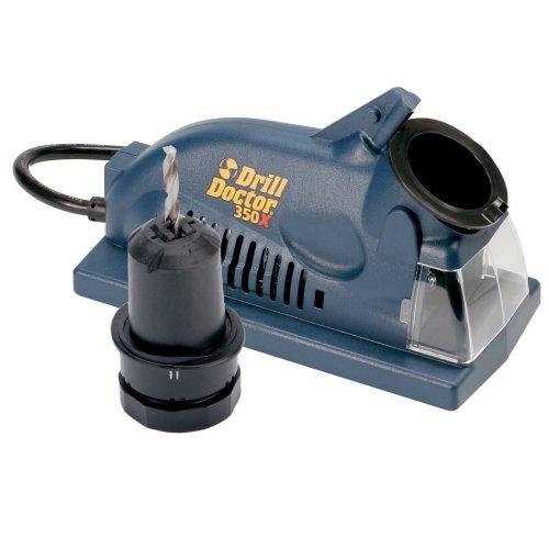Drill Doctor 350X Drill Bit Sharpener, Engineered for Versatility in handling popular wood & metal bits, Set Point Angle of 118°, Sharpens 3/32