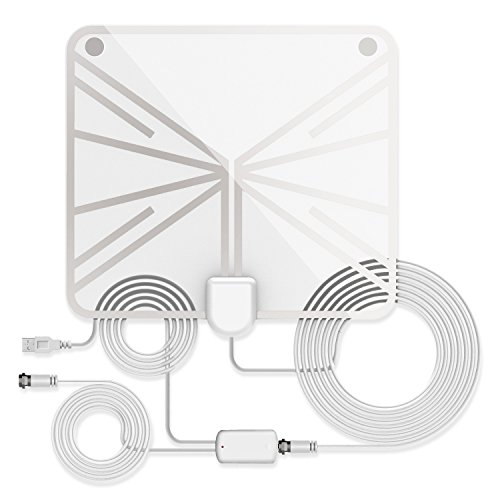 - TV Antenna, Indoor Amplified HDTV Antenna 50 Mile Range with Detachable Amplifier Signal Booster and 16.5FT High Performance Coax Cable, Upgraded Version Better Reception-White