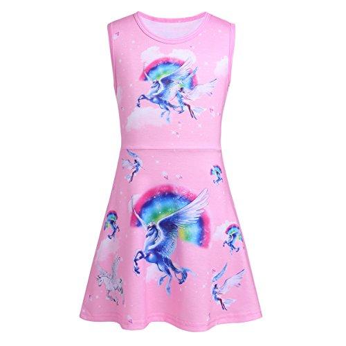 FEESHOW Girls Unicorn Dress Toddler Sleeveless Unicorn Fancy Dress up Costumes Summer Casual Dress Pink 5-6
