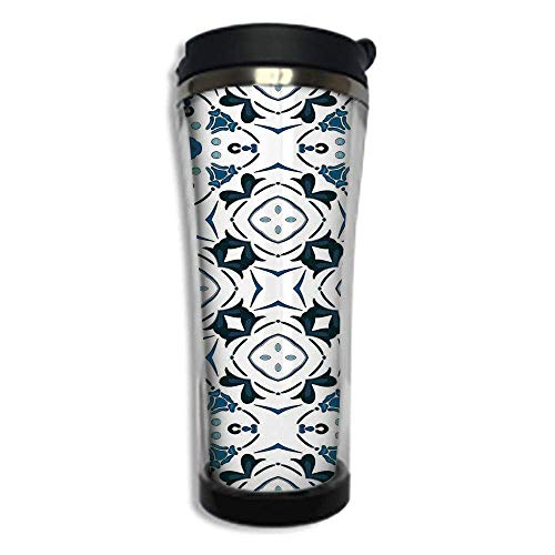Customizable Travel Photo Mug with Lid - 8.45 OZ(420 ml) Stainless Steel Travel Tumbler, Makes a Great Gift by,Traditional House Decor,Decorative Petals and Octagon Forms Royal Victorian Figures,Blue