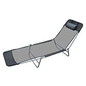 Amazon.com: Silla reclinable de playa Outsunny, Negro ...