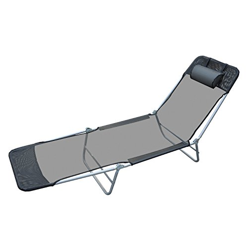 Outsunny 01-0336 Sun Lounge Chair, Black (Strap Chaise Lounger)
