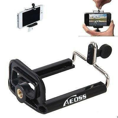 Aeoss ® Camera Stand Clip Bracket Holder Tripod Monopod Mount Adapter for Mobile Phone with Silicon Gel top