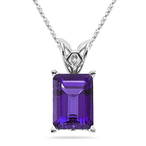 2.37-2.95 Cts of 10x8 mm AAA Emerald-Cut Amethyst Scroll Solitaire Pendant in 14K White Gold