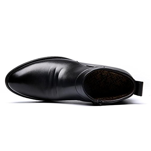 Easy Go Shopping Hiver Vlevet Retro Hommes Bottes Confortable Zipper Casual Chaussures de Neige en Cuir Chaussures de Sport en Cuir pour Hommes Black F980cmZS
