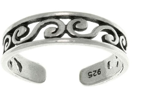 Jewelry Trends Sterling Silver Filigree Scroll Design Adjustable Toe Ring by Jewelry Trends