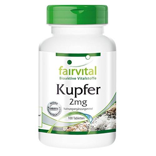 Kupfer 2 mg - bioverfügbar - Aminosäurechelat - 100 vegetarische Tabletten - Reinsubstanz