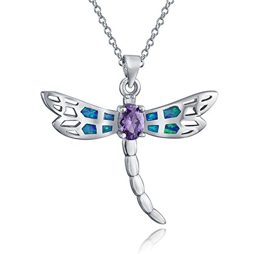 Butterfly Dragonfly Shape Blue Inlay Created Opal Garden Pendant Purple CZ Sterling Silver 18 Inch October Birthstone