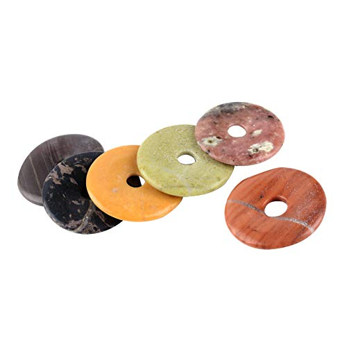 ARRICRAFT 10pcs Natural Stone Pendants Flat Round Gemstone Donut Beads Charms Jewelry Finding for Necklace Earring Mobile Key Chain