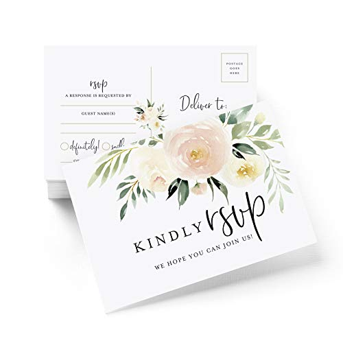(RSVP postcards for Wedding, Blush Floral Response Cards, Reply Cards Perfect for Bridal Shower, Rehearsal Dinner, Engagement Party, Baby Shower or any Special Occasion (50 Pack))