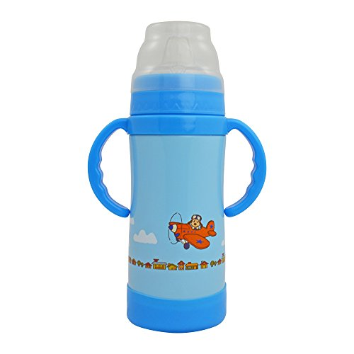 EcoVessel Kid's Insulated Stainless Steel Sippy Cup Water Bottle - 10 Ounces - Blue with Dog on Plane