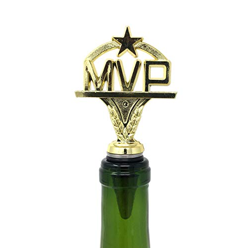 MVP Wine Bottle Stopper - Handmade with Stainless Steel Base and Repurposed Trophy Top