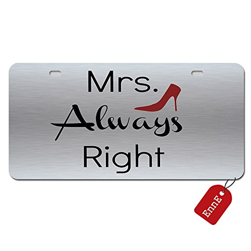 Personalized Metal License Plate Cover Mrs. Always Right Halloween Car Plate For Car 2 Holes Car Tag 11.8 inch X 6.1 inch -