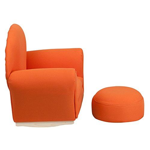 21.5'' Kids Orange Fabric Rocker Chair & Foortrest (1 Set)