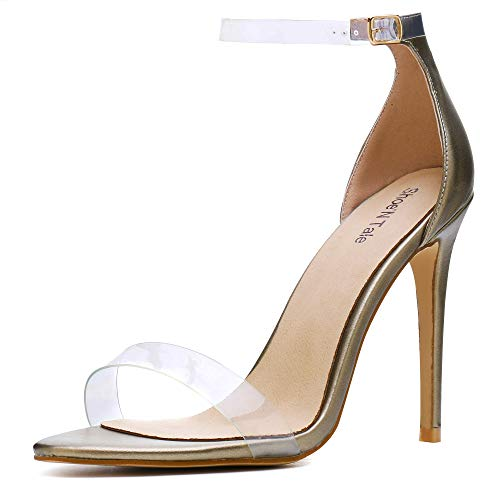 Shoe'N Tale Women's Lucite Clear Ankle Strap High Heel Sandals (8 B(M) US, Gold Pat)
