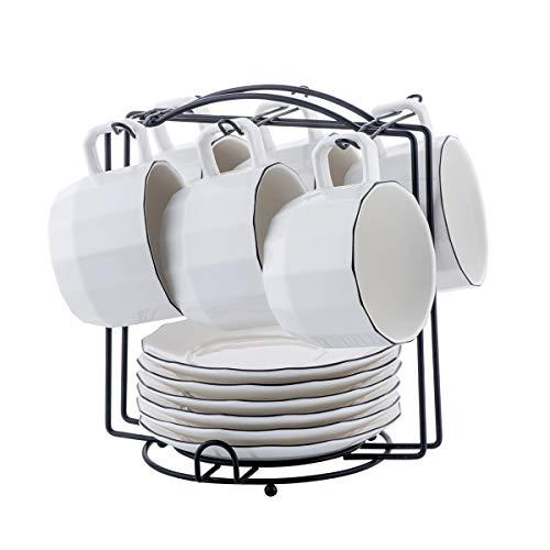 - YOLIFE 7 Ounce White Porcelain Tea Cups and Saucers Set,6pcs set with Black Matte Metal Rack