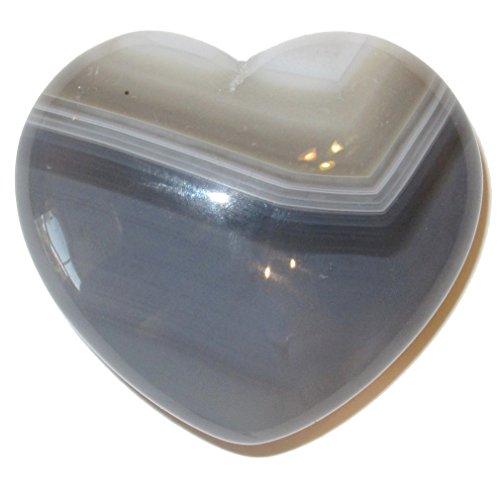 Blue Gem Heart - Agate Heart Blue 01 Premium White Lace Crystal Handsome Gentlemen Lover Stone Gift 1.8