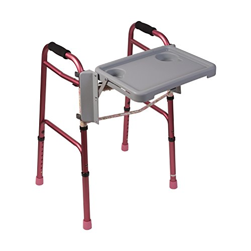DMI Folding Walker Tray with Cup Holders, Tool Free, Locks in Place, Gray, 18.5 Inches