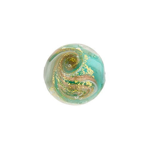 - Teal and Gray with Aventurina and 24kt Gold Foil Mare Round 14mm Murano Glass Bead Handmade Lampwork