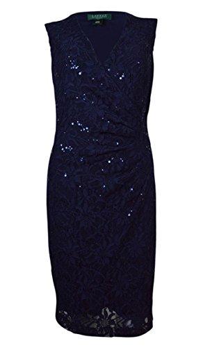 RALPH LAUREN Lauren Women's Surplice Sleeveless Sequined Lace Dress (4, Navy) (Sequined Surplice)