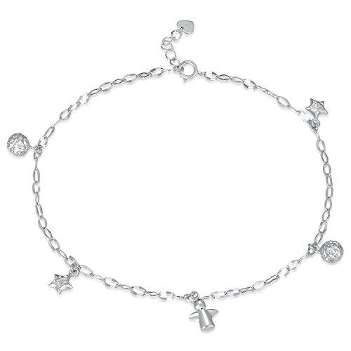 MaBelle - Ange Gardien Perles Étoile Pendre Bracelet de Cheville Femmes - Or Blanc 585/1000 (14 carats) - 22.5cm