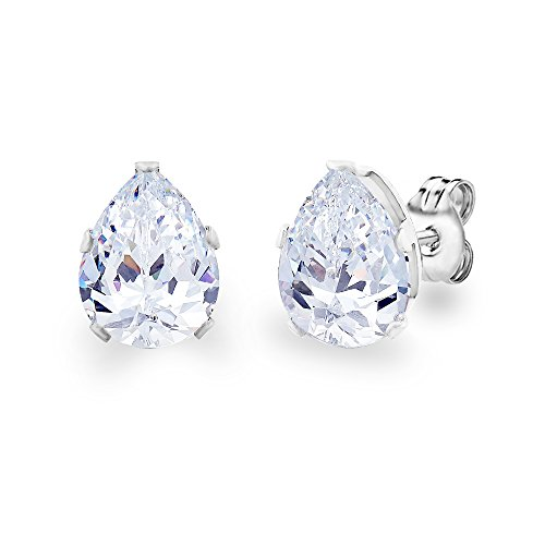 DIANE LO'REN 18KT White Gold Plated 8mm Gemstone Crystal Teardrop Pear Shaped Cubic Zirconia Cartilage Studs Earrings Set Women Jewelry (Diamond) (Ring Teardrop Gemstone)