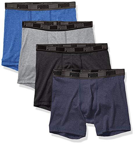 PUMA Men's 4 Pack Tech Boxer Brief, Blue/Grey, X-Large