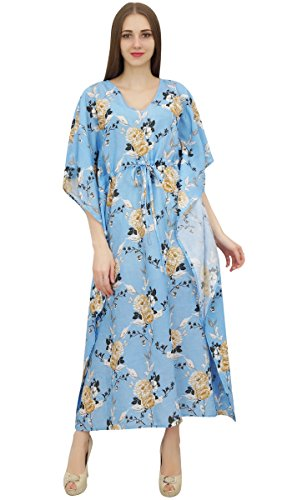 Blue Evening Women's Printed Maxi Floral Summer Kaftan Light Kimono Bimba Dress xq1U6nB