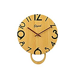 Elgood 12-inch Slow Sweep Non-Ticking Silent Wooden Digital Wall Clock (Yellow)