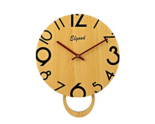 - Elgood 12-inch Slow Sweep Non-Ticking Silent Wooden Digital Wall Clock (Yellow)