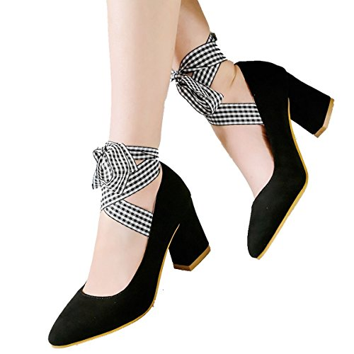Mid Heel Toe Bowtie Women's Black Chunky Pointed Shoes Up Party Lace DecoStain Work Pumps nSqY8wxx