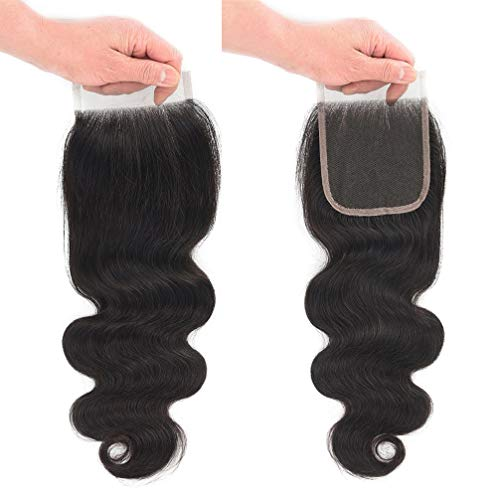 100% Body - 10A Brazilian Closure Body Wave 100% Unprocessed Virgin Human Hair Lace Closure 4X4 Free Part Natural Black (18 inch, Natural Color)