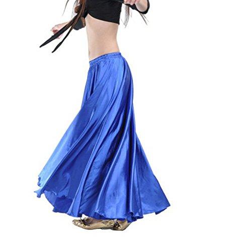 Satin Long Swing Skirt Blue Belly Dance