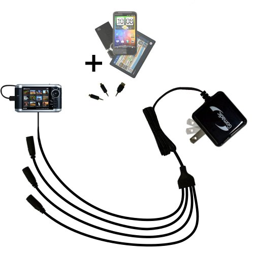 Quad 4-port wall charger with included tip for the Epson P-3000 Multimedia Photo Viewer a compact design with flip out prongs - Uses TipExchange Technology to charge up to four devices simultaneously by Gomadic (Image #8)