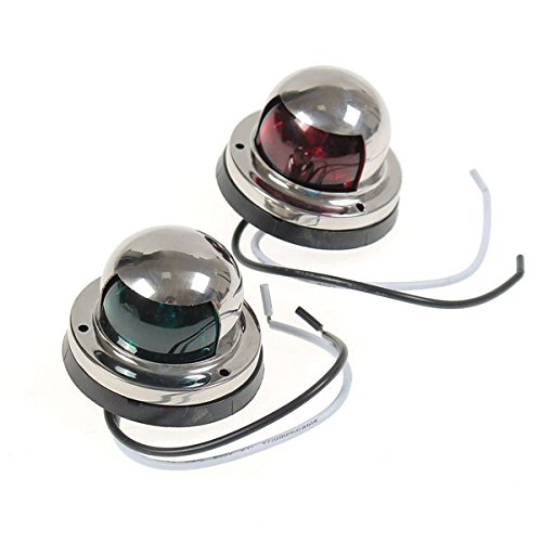 (Pair 12V Red & Green Stainless Steel Navigation Light For Marine Boat Yacht)