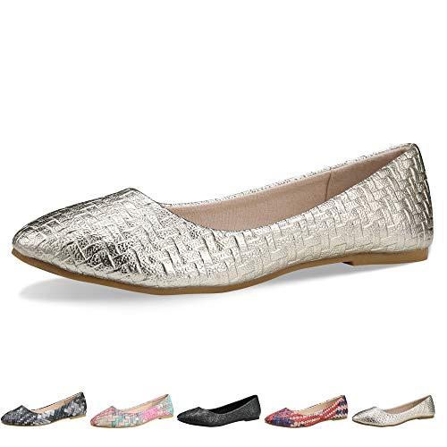 Walking Flats Women's Shoes Black Comfortable Ballet Soles Simple Ballerina Flats (5-5.5 B(M) US / CN37 /9.2'', Gold)
