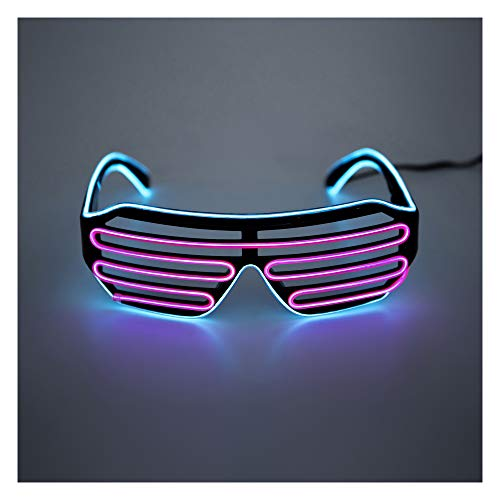 US_FLORATA Shutter El Wire Neon Rave Glasses Flashing Sunglasses Glasses Costumes for Kids and Adults]()